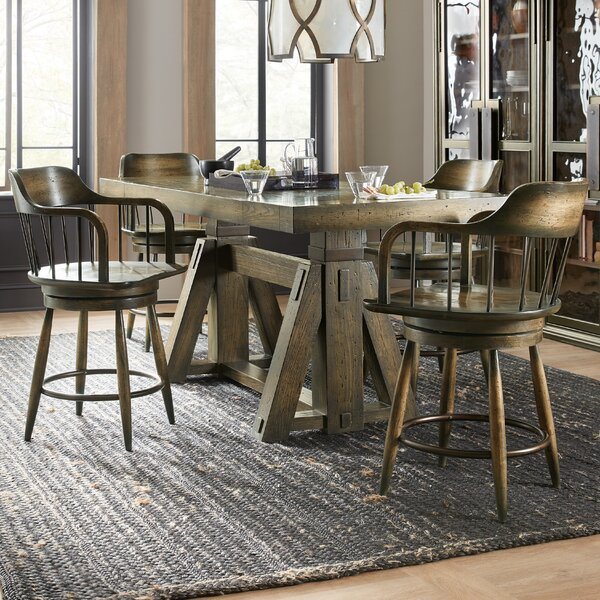 Crafted 5 Piece Counter Height Extendable Dining Set By Hooker Furniture