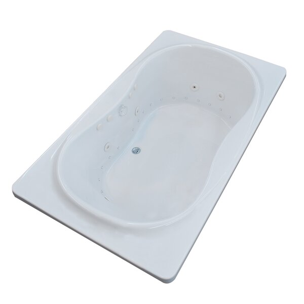 Cayman 71.5 x 35.5 Rectangular Air & Whirlpool Jetted Bathtub with Center Drain by Spa Escapes