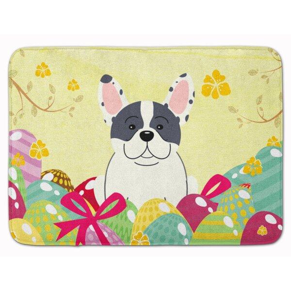Easter Eggs French Bulldog Piebald Memory Foam Bath Rug by The Holiday Aisle
