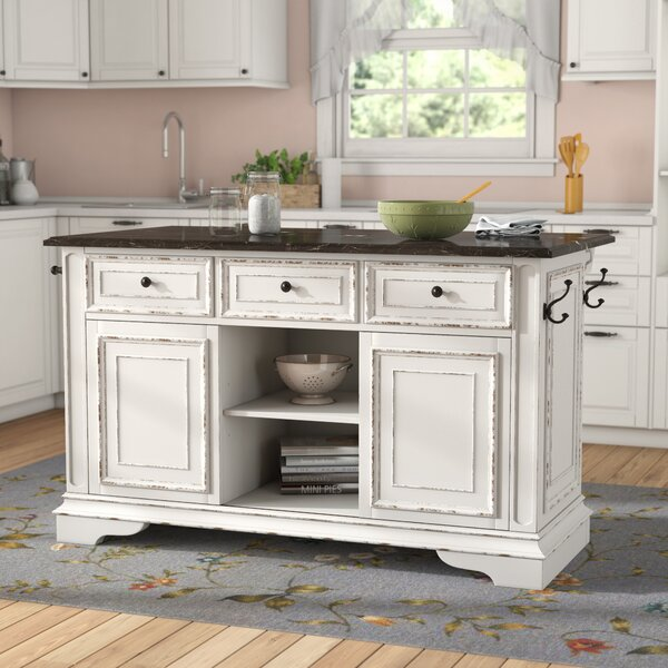 Tiphaine Kitchen Island with Granite Top by Lark Manor
