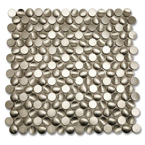 Corrie 0.75 x 0.75 Metal Mosaic Tile in Brushed Polished Silver by Splashback Tile