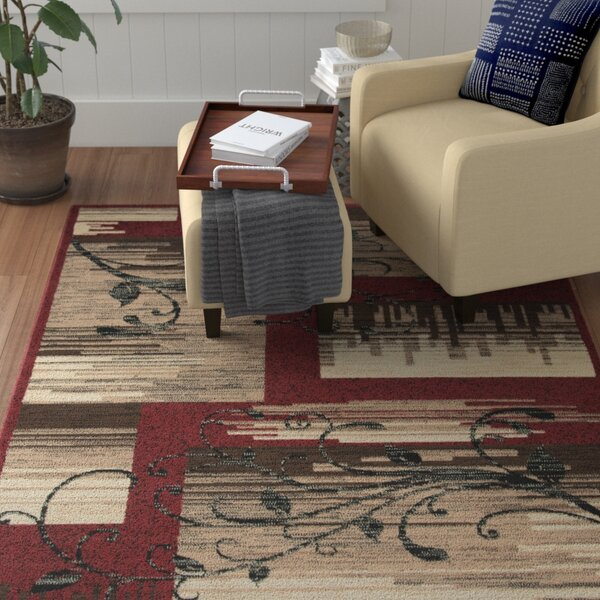 Cooke Red/Beige Area Rug by Winston Porter