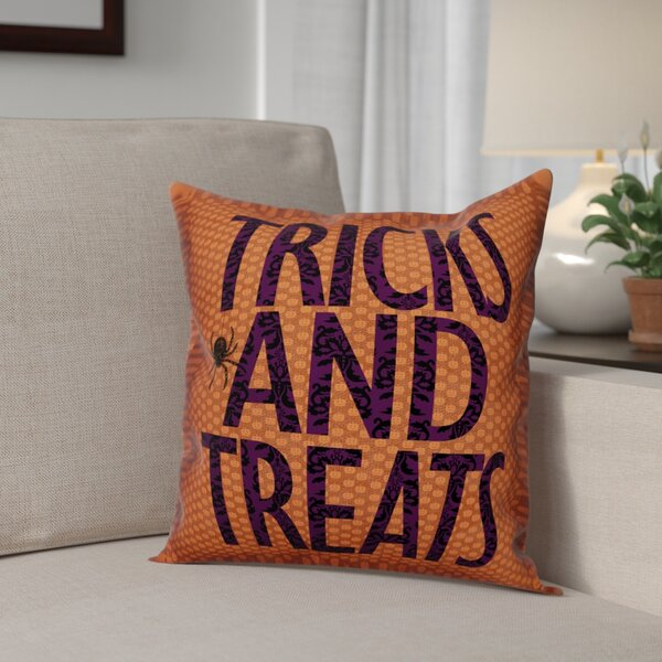 Tricks and Treats Throw Pillow by The Holiday Aisle
