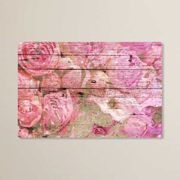 Holsworthy Roses in Pink Painting Print on Wood by House of Hampton
