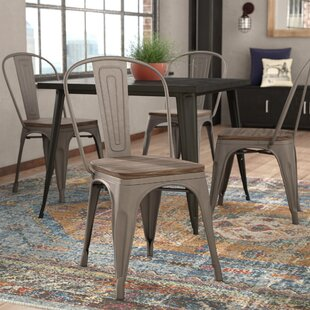 Linneus Industrial Metal Solid Wood Dining Chair Set Of 4