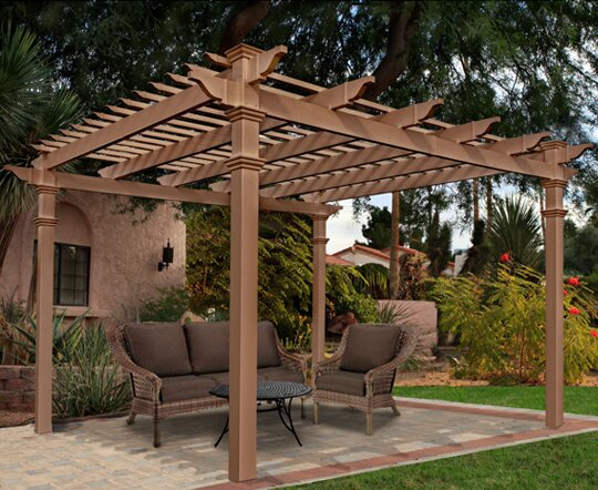 Arcadia 10 Ft. W x 10 Ft. D Vinyl Pergola by New England Arbors