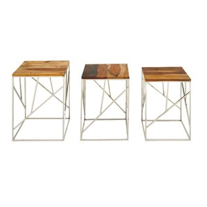 Wood/Stainless Steel 3 Piece Nesting Tables by Cole & Grey