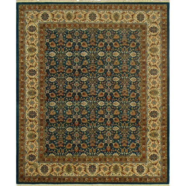Clerkin Hand Knotted Wool Brown/Blue Area Rug by Astoria Grand