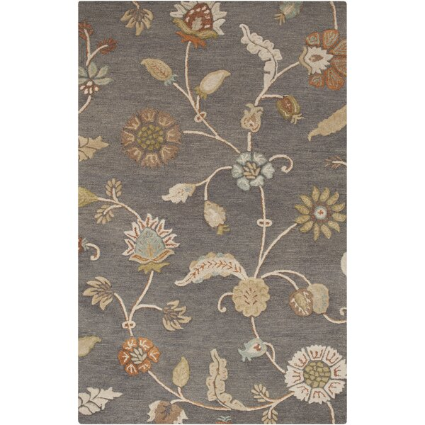 Stowe Slate Floral Rug by Charlton Home