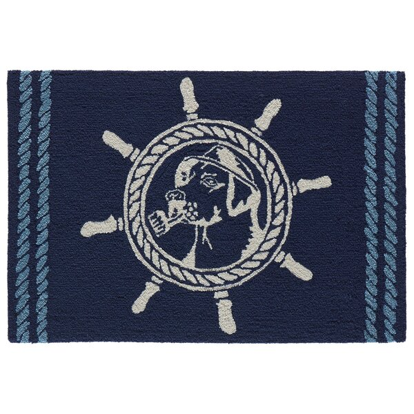 Eklund Seadog Hand-Woven Blue Indoor/Outdoor Area Rug by Breakwater Bay