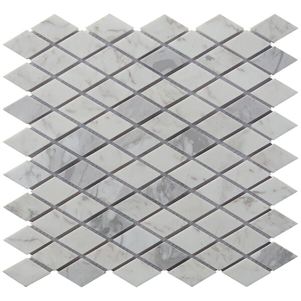 Diamond 12 x 12.5 Carrara Natural Stone Blend Mosaic Tile in White by Intrend Tile