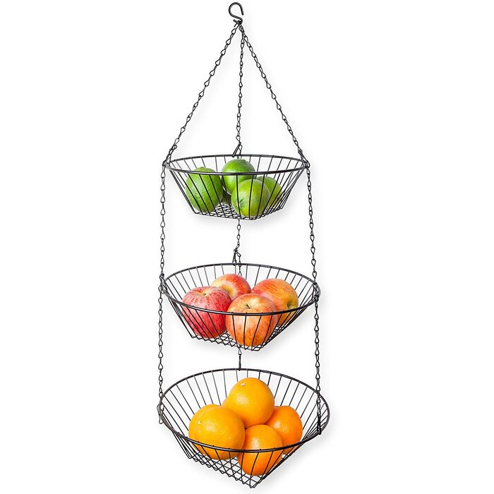 Home Basics 3 Tier Wire Hanging Kitchen Fruit Basket