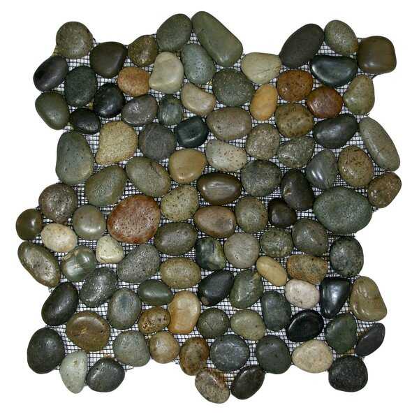 Nile Random Sized Natural Stone Mosaic Tile in Green/Beige/Black
