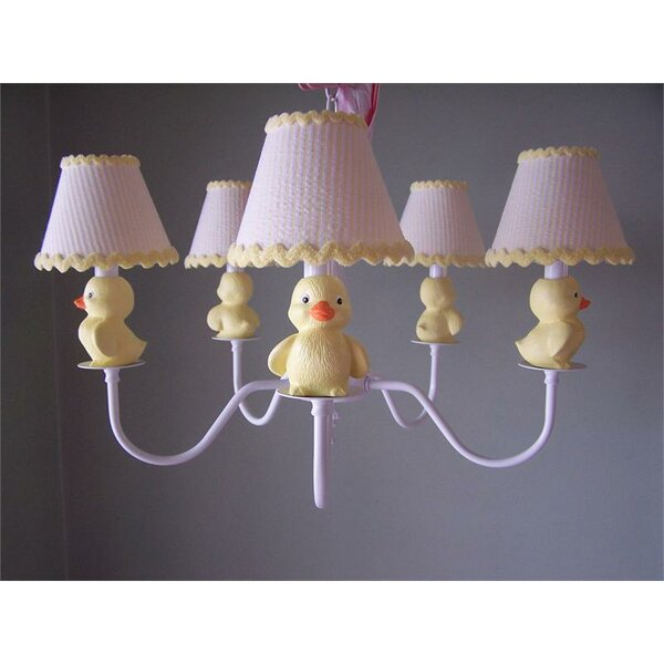 Rubber Duckie 5 - Light Shaded Classic / Traditional Chandelier By Silly Bear Lighting