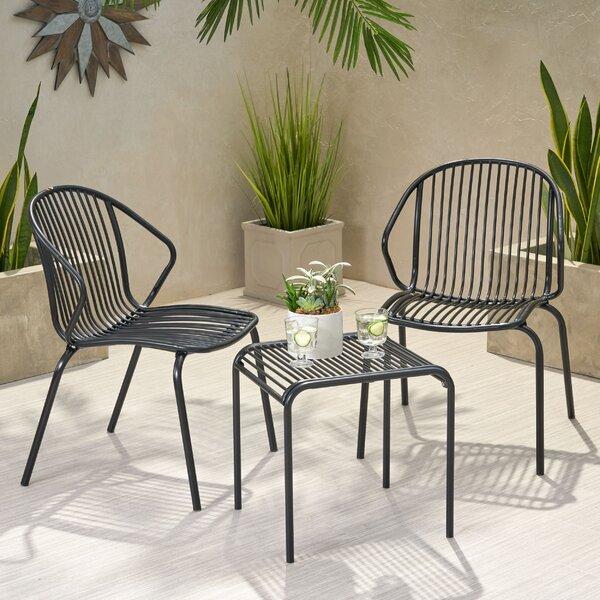 Corbeil Outdoor Modern Iron 3 Piece Seating Group by Ebern Designs Ebern Designs