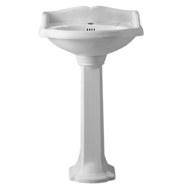 China Vitreous China Oval Pedestal Bathroom Sink with Overflow