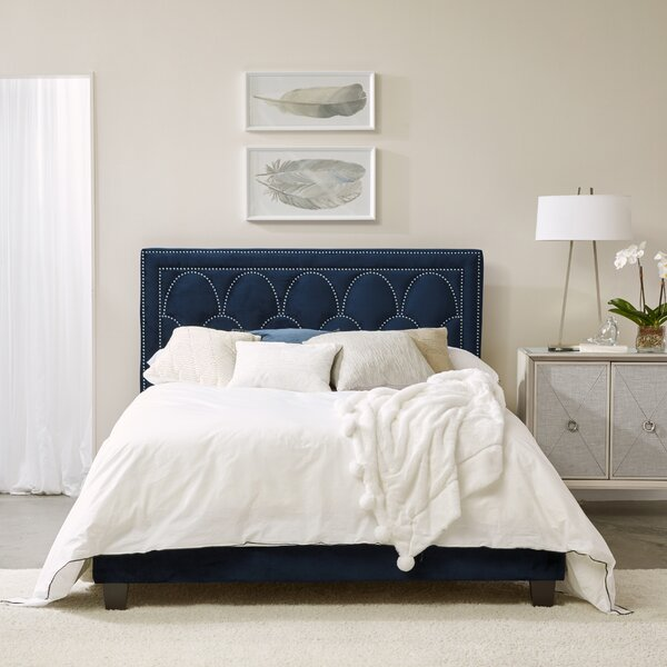 Stoutland Art Deco Nailhead Arch Queen Upholstered Standard Bed by Rosdorf Park