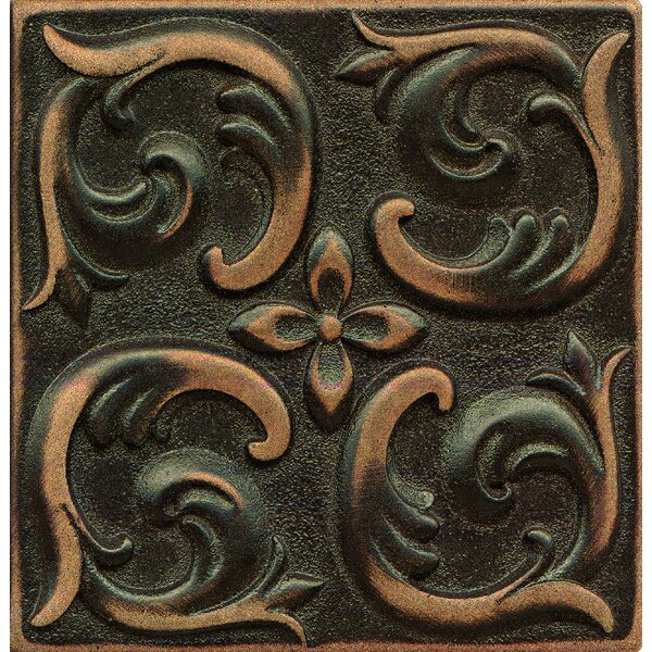 Ambiance Insert Wave 4 x 4 Resin Tile in Venetian Bronze by Bedrosians