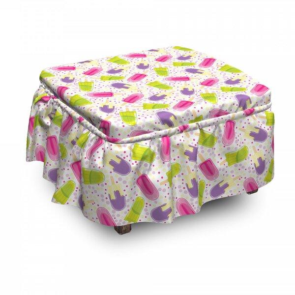 Ice Cream Cartoon Popsicle Dots 2 Piece Box Cushion Ottoman Slipcover Set By East Urban Home