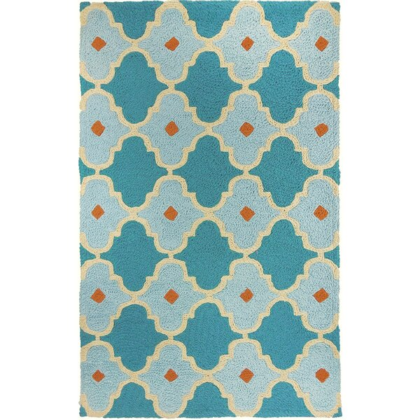 Camillei Mediterranean Tile Hand-Hooked Blue/Teal Indoor/Outdoor Area Rug by Highland Dunes
