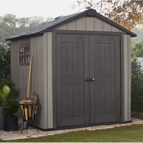 Oakland Duotech 7 ft. 5 in. W x 7 ft. 3 in. D Plastic Storage Shed by Keter