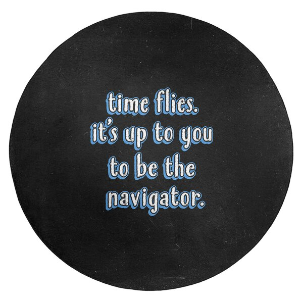 Time Flies Quote Chalkboard Style Poly Chenille Rug