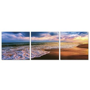 Beach Sunset 3 Piece Photographic Print Set by Furinno