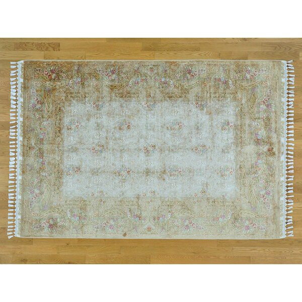 One-of-a-Kind Ben Esfahan Hand-Knotted Beige Silk Area Rug by Isabelline