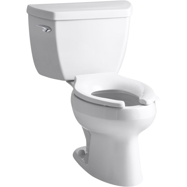 Wellworth® Classic Two-Piece Elongated 1.6 GPF Toilet with Pressure Lite® Flushing Technology, Left-Hand Trip Lever and Antimicrobial Finish, Less Seat by Kohler