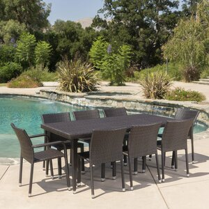 Wiersma Outdoor Wicker 9 Piece Dining Set