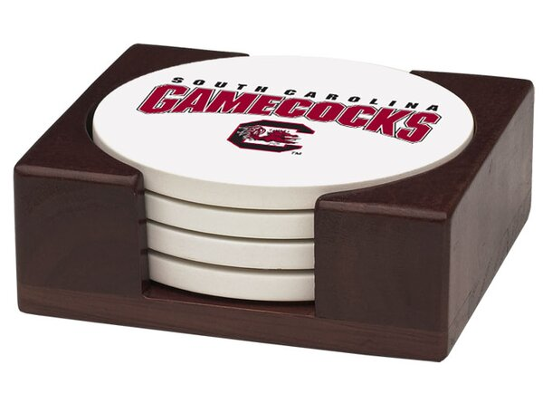 5 Piece University of South Carolina Wood Collegiate Coaster Gift Set by Thirstystone