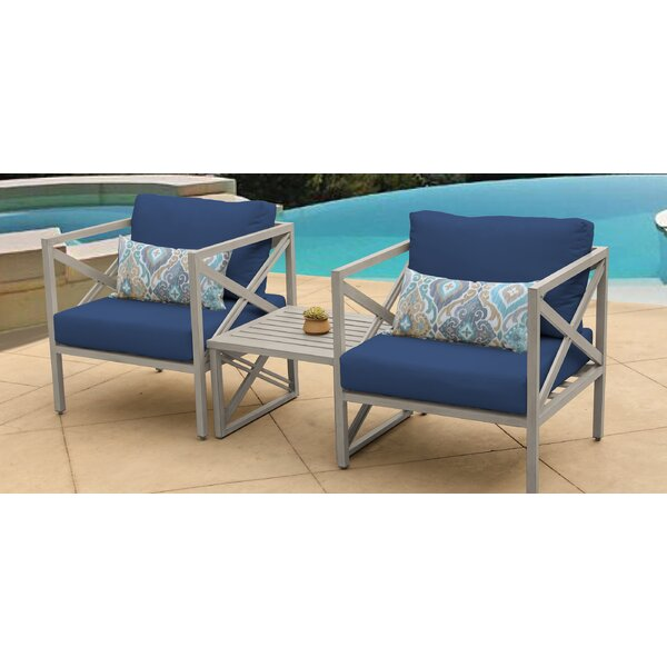 Carlisle Outdoor 3 Piece Conversation Set with Cushions by TK Classics