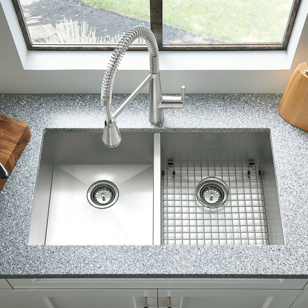 Colony 33 L x 22 W Double Basin Undermount Kitchen Sink with Grid and Drain by American Standard