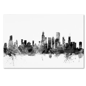'Chicago Illinois Skyline' Graphic Art on Wrapped Canvas by Ivy Bronx
