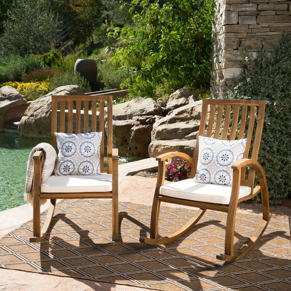 Morais Outdoor Rocking Chair with Cushions (Set of 2) by Bungalow Rose