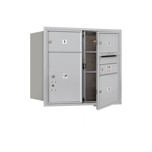 Recessed Private 5 Door Front Load 4C Horizontal Mail Center with 1 Parcel Locker by Salsbury Industries