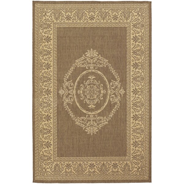 Celia Antique Medallion Natural/Cocoa Indoor/Outdoor Area Rug by Beachcrest Home