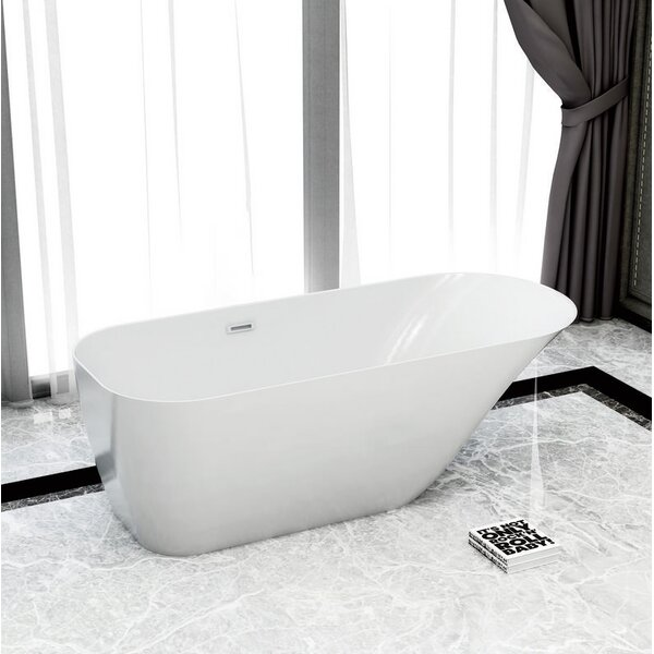 Solid Surface Resin 67 x 28 Freestanding Soaking Bathtub with Internal Drain by Streamline Bath