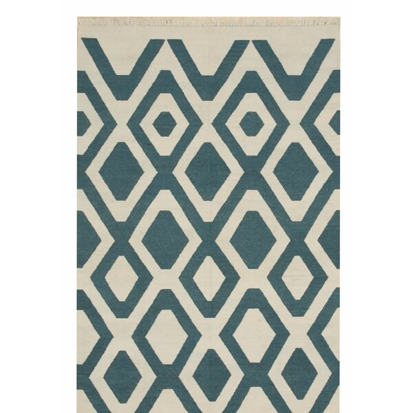 Gaines Transitional Hand-Woven Ivory/Blue Indoor/Outdoor Area Rug by Ivy Bronx