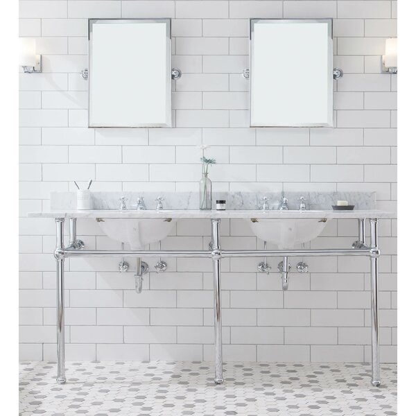Embassy Stone Oval Console Bathroom Sink with Faucet and Overflow