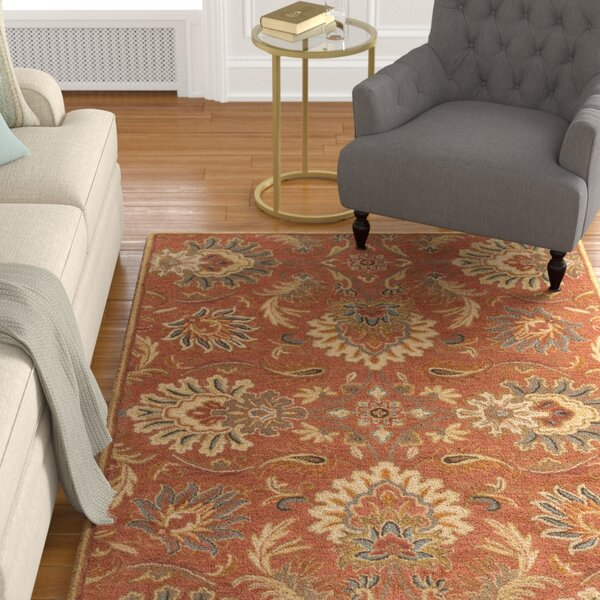 Hand-Tufted Wool Burnt Orange/Carmel Area Rug by Birch Lane™