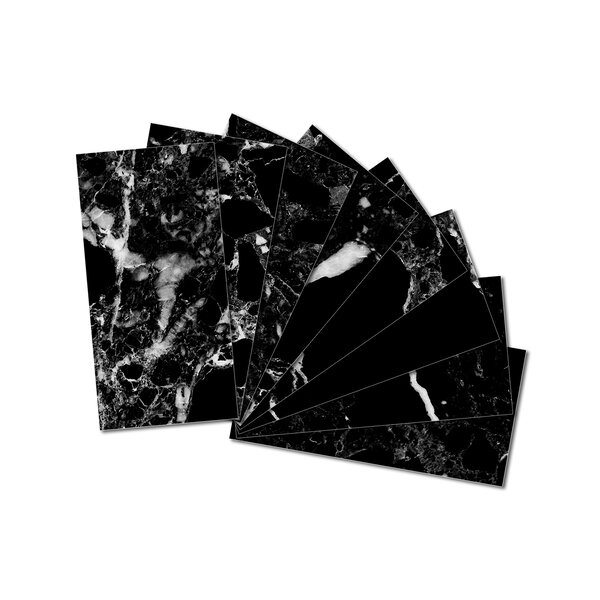 3 x 6 Beveled Glass Subway Tile in Black by Upscale Designs by EMA