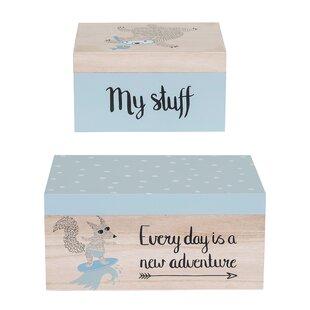 Brett 2 Piece Wood Storage Box Set ByViv + Rae