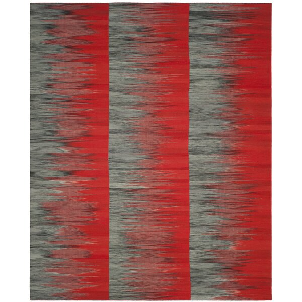 Amerina Hand-Woven Red/Charcoal Area Rug by Latitude Run