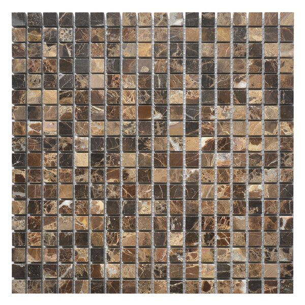 Emperador 0.62 x 0.62 Marble Mosaic Tile in Dark by Matrix Stone USA