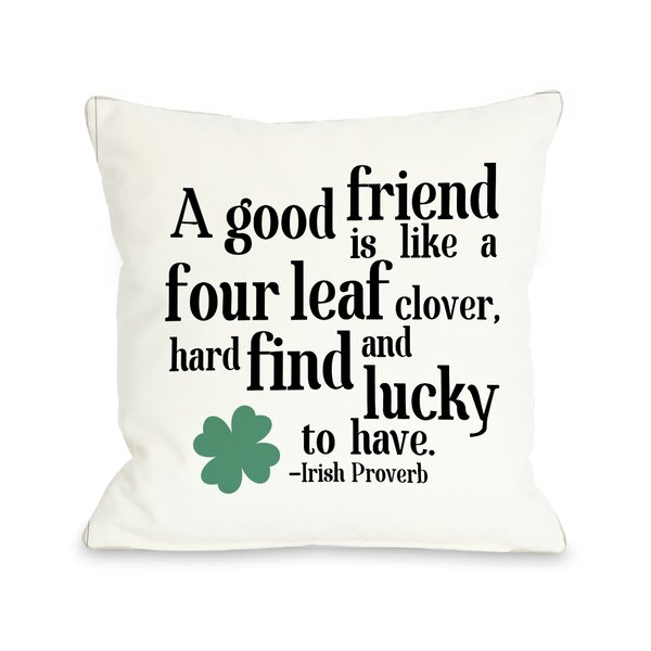 Irish Proverb Clover Throw Pillow by One Bella Casa