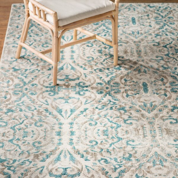 Saleya Turquoise Area Rug by Bungalow Rose