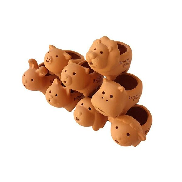 Proulx Animal 8-Piece Terracotta Pot Planter Set by August Grove