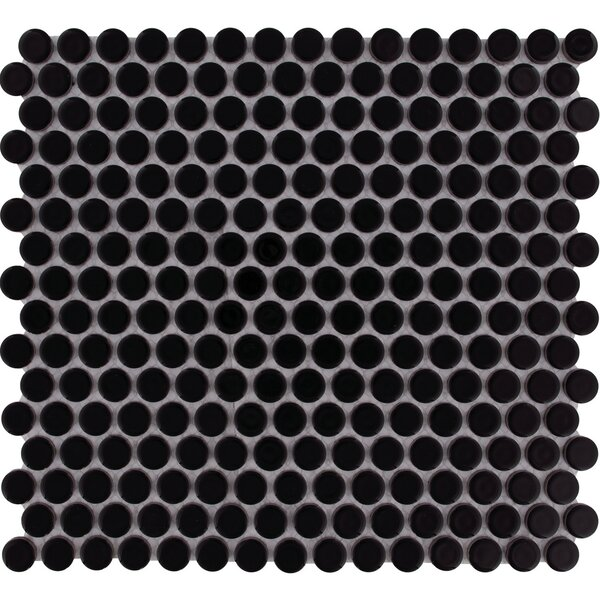 Venice Penny Glossy 0.75 x 0.75 Porcelain Mosaic Tile in Black by The Mosaic Factory