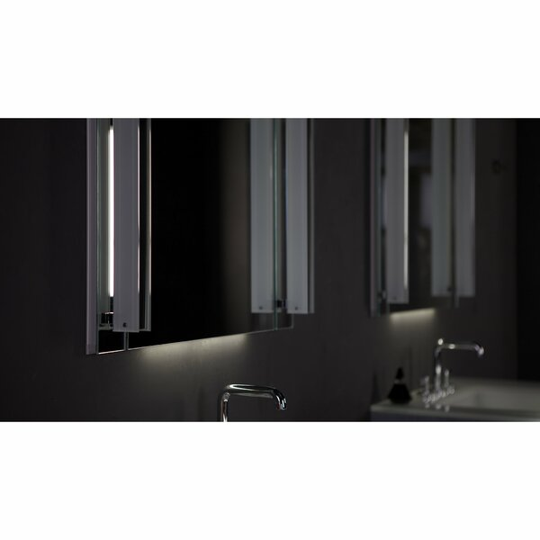 M Series Recessed or Surface Mount Frameless Medicine Cabinet with 3 Adjustable Shelves and LED Lighting (Set of 2)